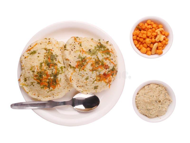 Rava tradicional da culinária do karnataka inativa, chutney fotografia de stock royalty free