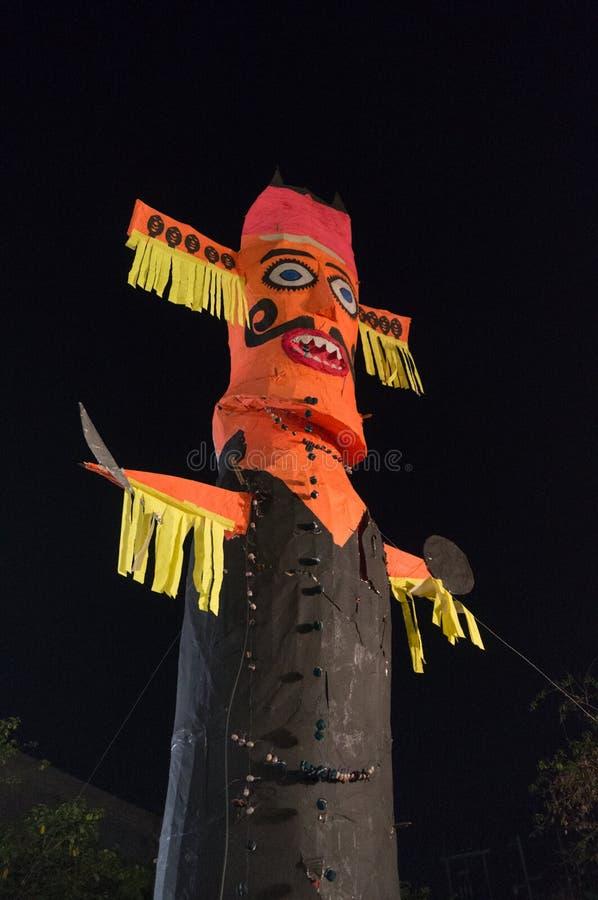 Ravan Ravana effigy standing against night sky on dussera royalty free stock images