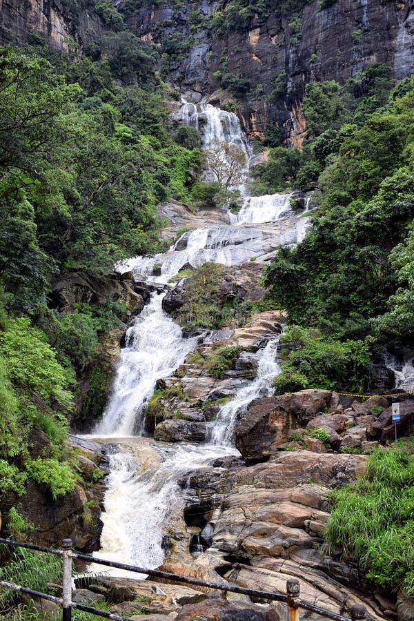 Ravana Ella Falls. Full view of Ravana Ella Falls in rainy reason. Ella, Sri Lanka royalty free stock images