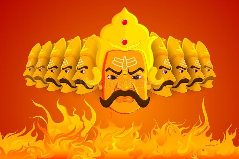Ravana que quema en fuego en Dussehra ilustración del vector