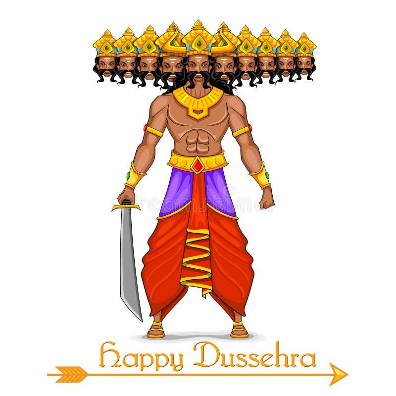 Ravana z dziesięć głowami dla Dussehra royalty ilustracja