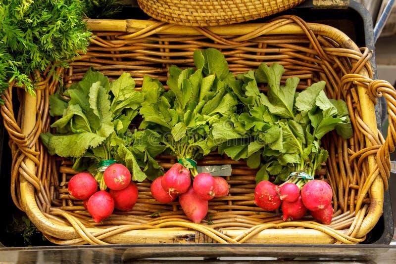 Ravanello rosso fresco con le foglie fotografia stock