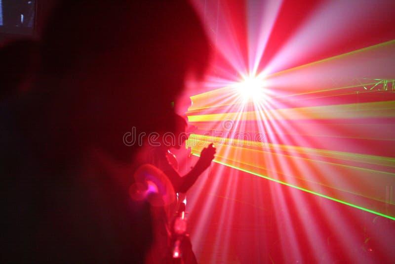 Rave. Laser lights on night rave royalty free stock photos