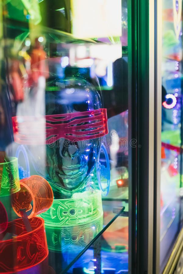 Rave-wear and accessories on sale in Cyberdog, Camden, London, UK. London, UK - March 23, 2019: Rave-wear and accessories on sale in Cyberdog, Camden, London, a royalty free stock photos