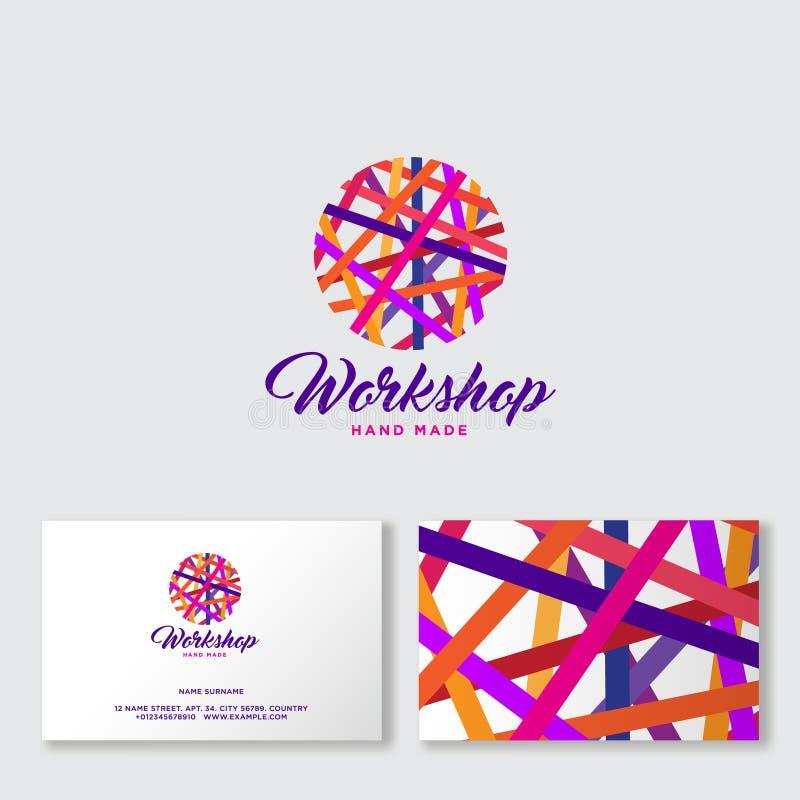 Ravel ball of multicolored threads. Needlework logo. Handmade product community. stock illustration