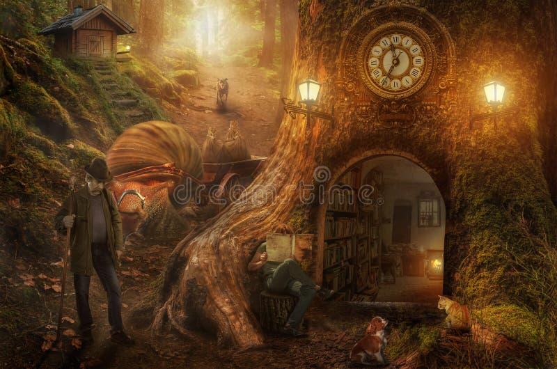 Raveler wandering through the fantastic world. A traveler wandering through the fantastic world of his dreams royalty free stock image