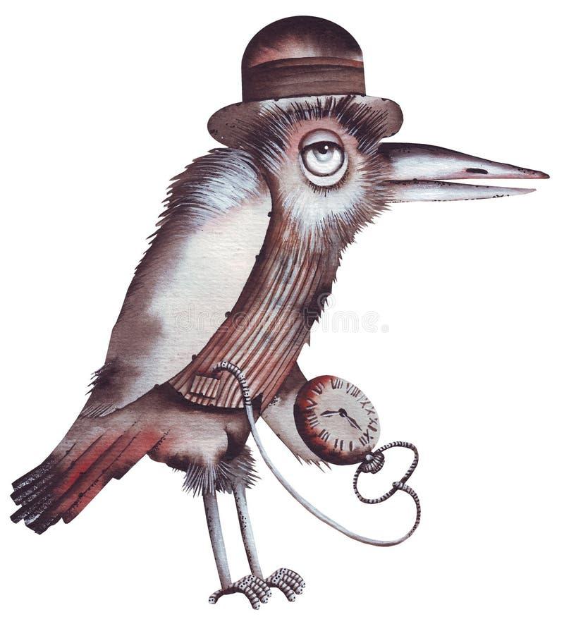 Raven avec la montre de poche illustration stock