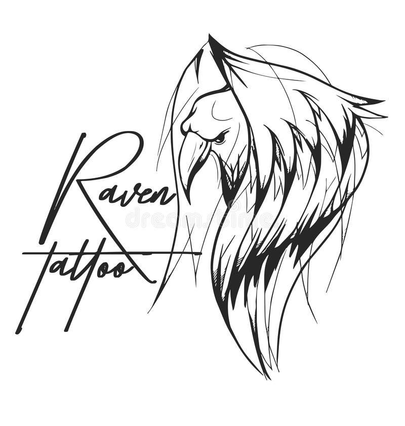 Raven Tattoo royalty free illustration