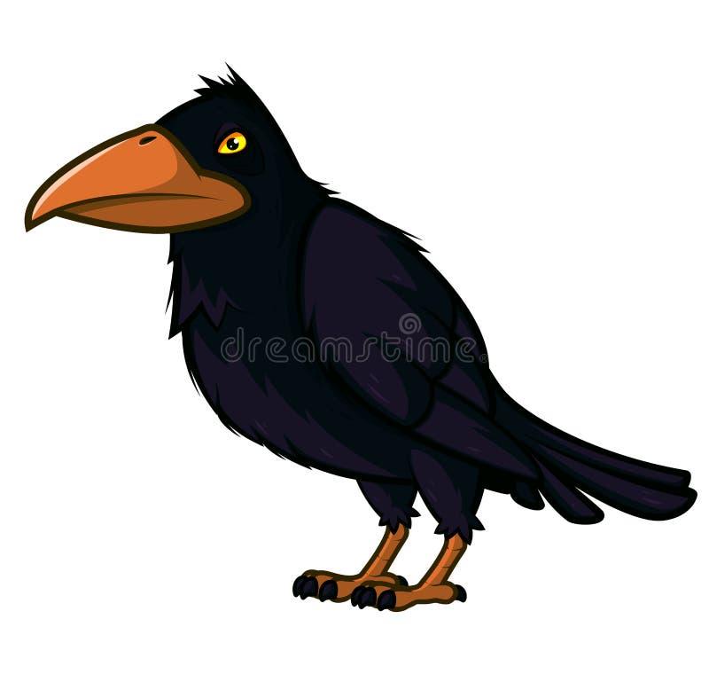 Raven com olhos amarelos e um grande bico ilustração stock