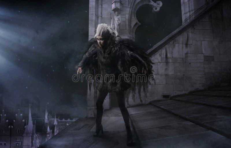 Raven-donna immagini stock