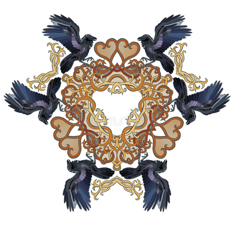 Raven in driehoek de In Keltische stijl van liefdeharten stock illustratie