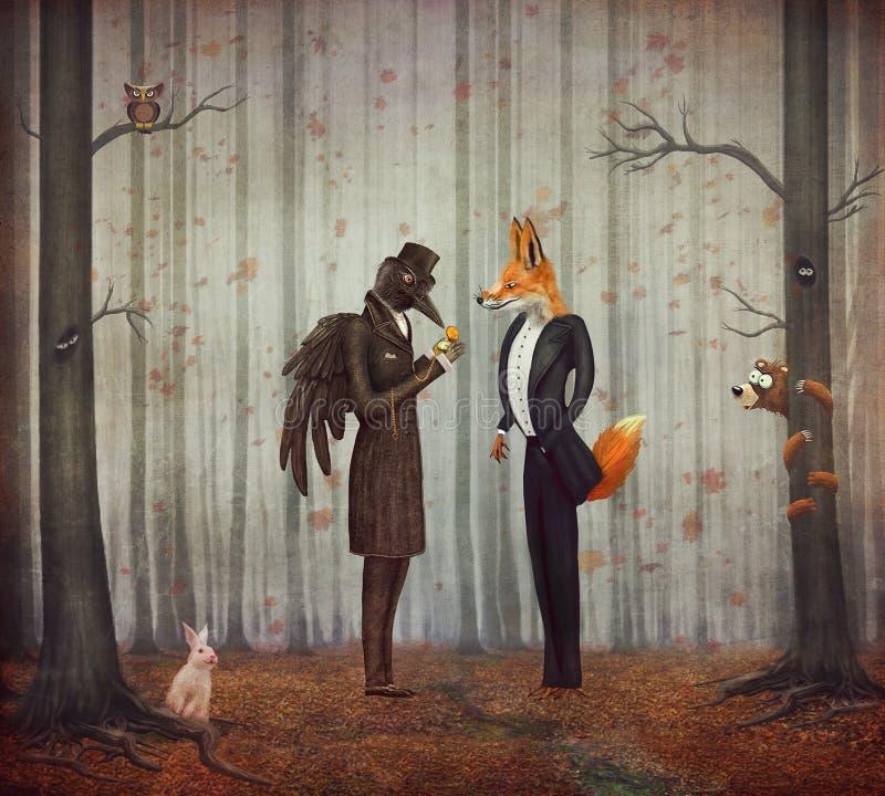 Raven et Fox dans la forêt foncée regardant la montre illustration de vecteur