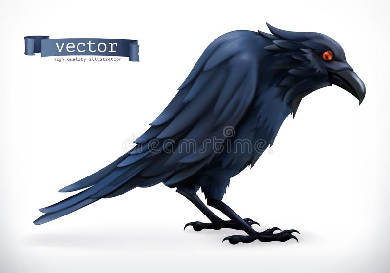 raven Glückliche Vektorikone Halloweens 3d stock abbildung
