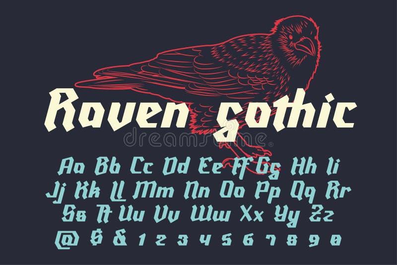 Raven Gothic - fonte moderna decorativa ilustração stock