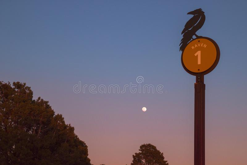 Wild raven silhouette signpost with full moon twilight sunset sky nature beauty view at Grand Canyon Arizona USa royalty free stock photography