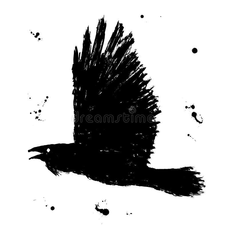 Raven. Grunge hand drawn ink sketch of black stock illustration