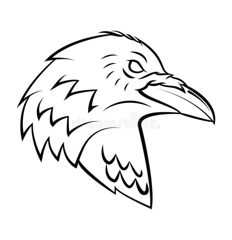 Raven Head Tattoo ilustração stock