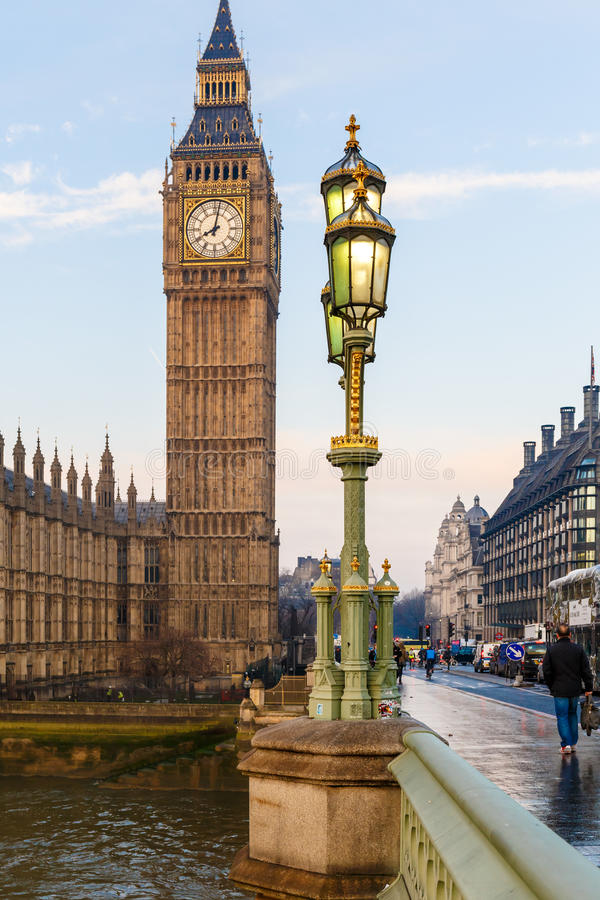 Raven on lampost at Houses of Parliament in early winter morning. London stock images
