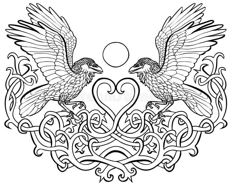 Raven in liefde Keltisch ornament stock illustratie
