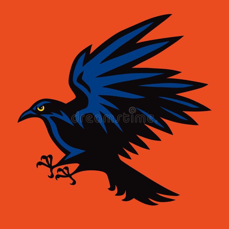 Raven Logo Angry Bird Sport Mascot Vector illustratie vector illustratie