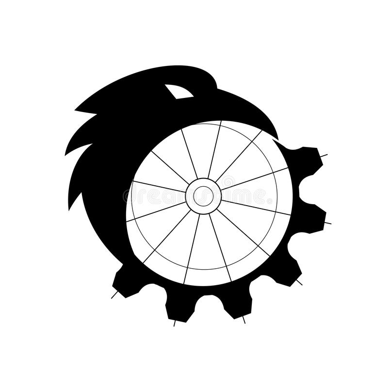 Raven Merging to Cog Icon. Retro icon style illustration of a silhouette of a crow, common raven or northern raven, a large all-black passerine bird, merging or royalty free illustration