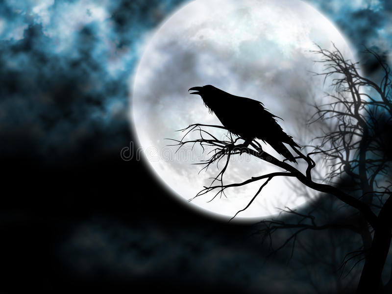 Raven on the Night Sky. Raven on a tree with a mistic twilight moon as background