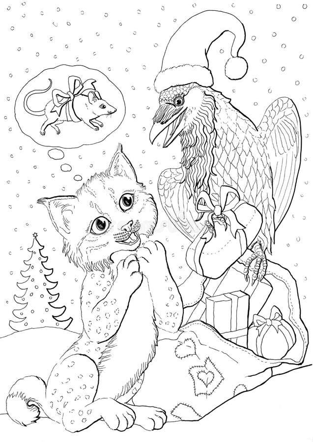 Raven Santa and lynx Christmas and gifts stock illustration