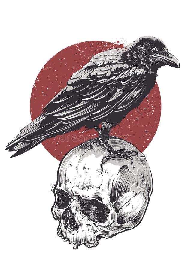 Raven On Skull ilustración del vector