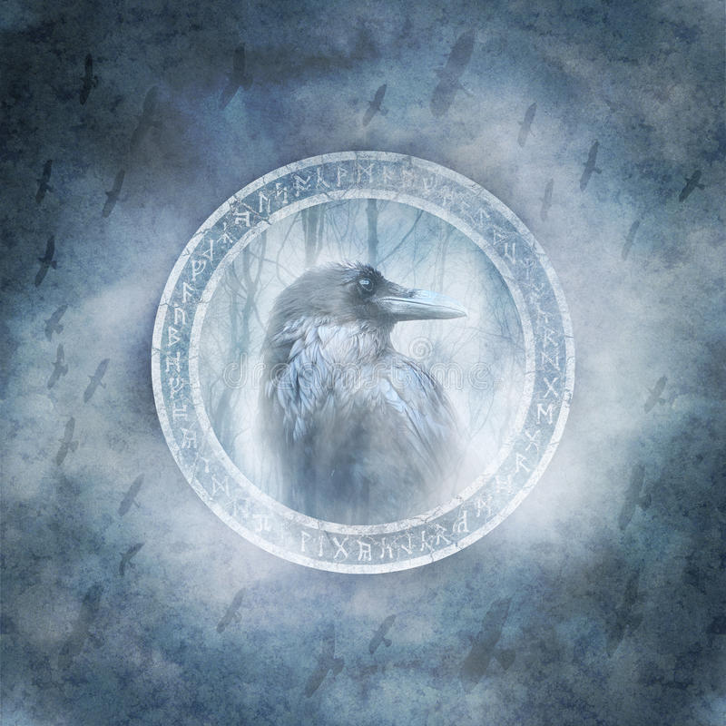 Raven Spirit. Raven enclosed within a ring of mysterious carved runic symbols against a background of a stormy dark sky and a bird flock in flight stock images