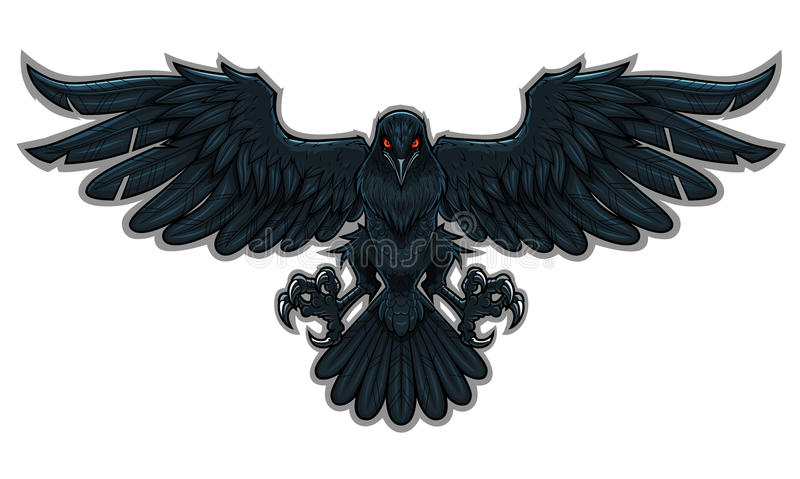 Raven. Stylized flying black raven with the red glowing eyes