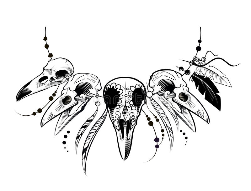 Raven Sugar Mexican Skull Raven Skull stock illustrationer