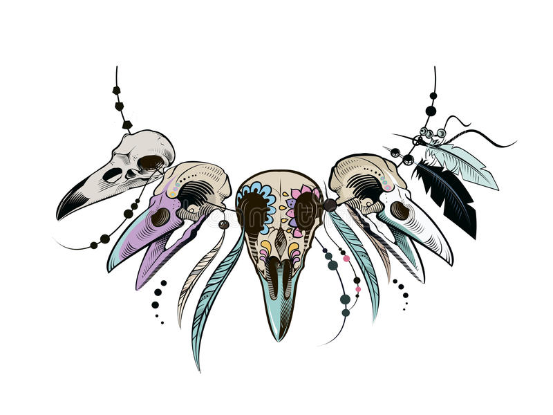 Raven Sugar Mexican Skull Raven Skull vektor illustrationer