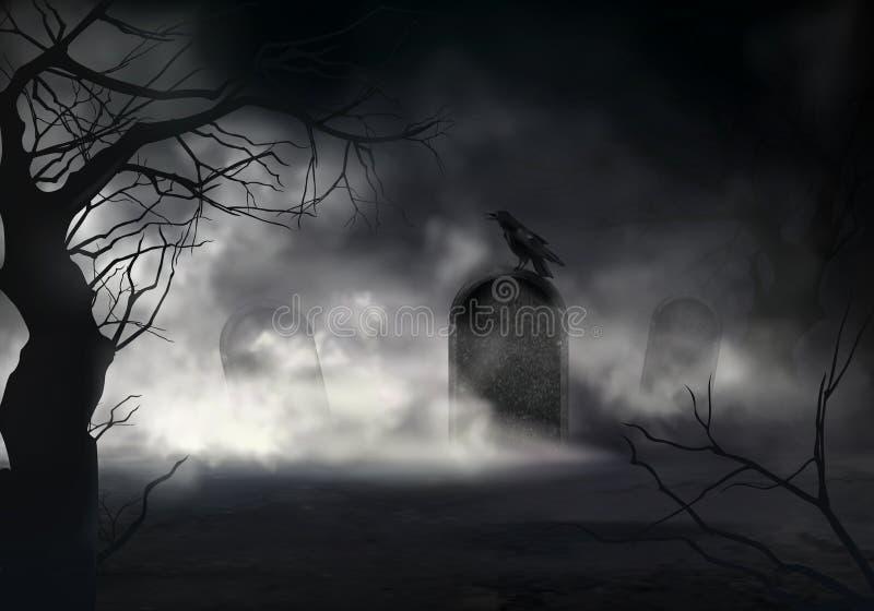 Raven sur la pierre tombale au vieux vecteur de cimetière illustration de vecteur