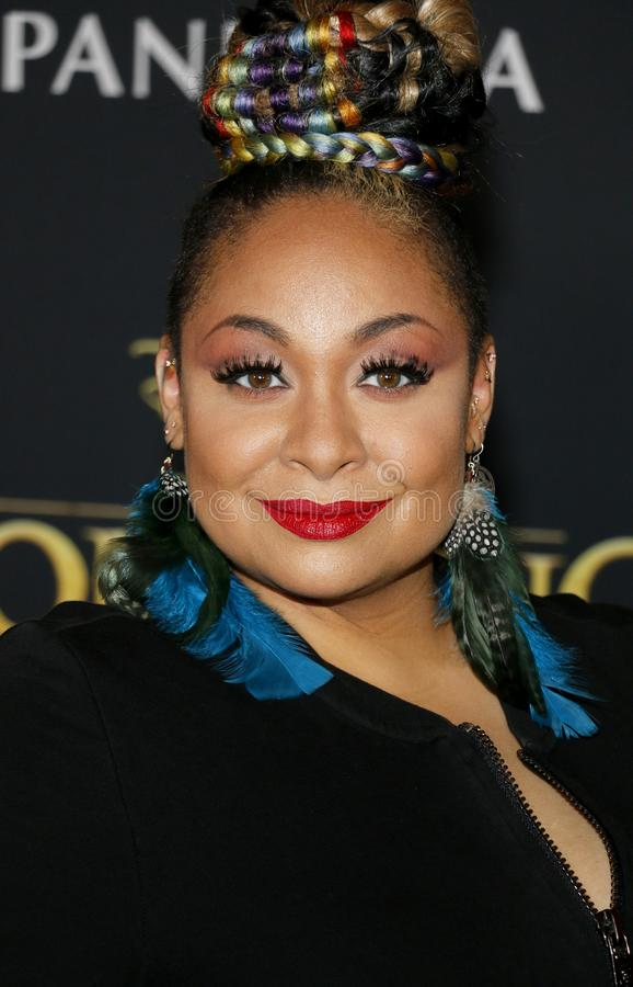 Raven-Symone. At the World premiere of `The Lion King` held at the Dolby Theatre in Hollywood, USA on July 9, 2019 stock photography