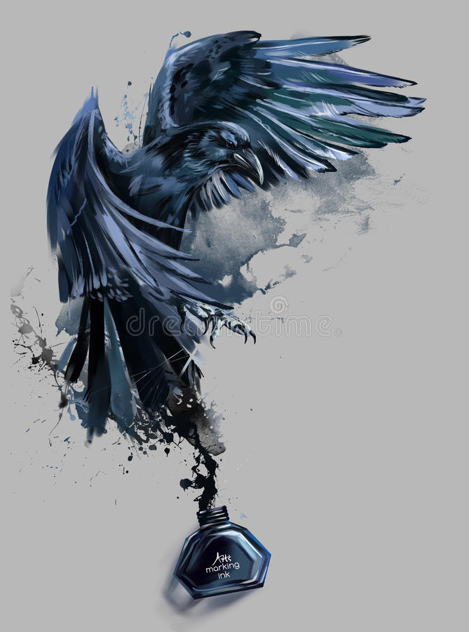 Raven watercolor painting royalty free illustration
