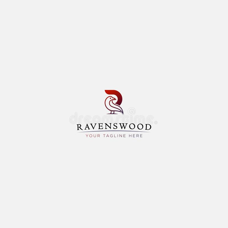 Raven wood and letter R logo design modern stock illustration