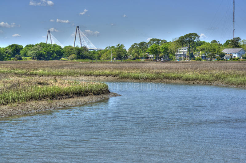 Ravenal Bridge in Charleston, SC royalty free stock images