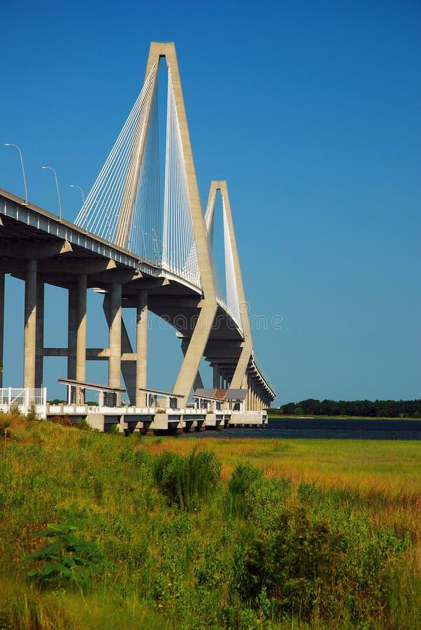 Ravenell Bridge, Charleston. The Arthur Ravenell Bridge is a modern suspension bridge connecting Charleston and Mt Pleasant, South Carolina royalty free stock photos