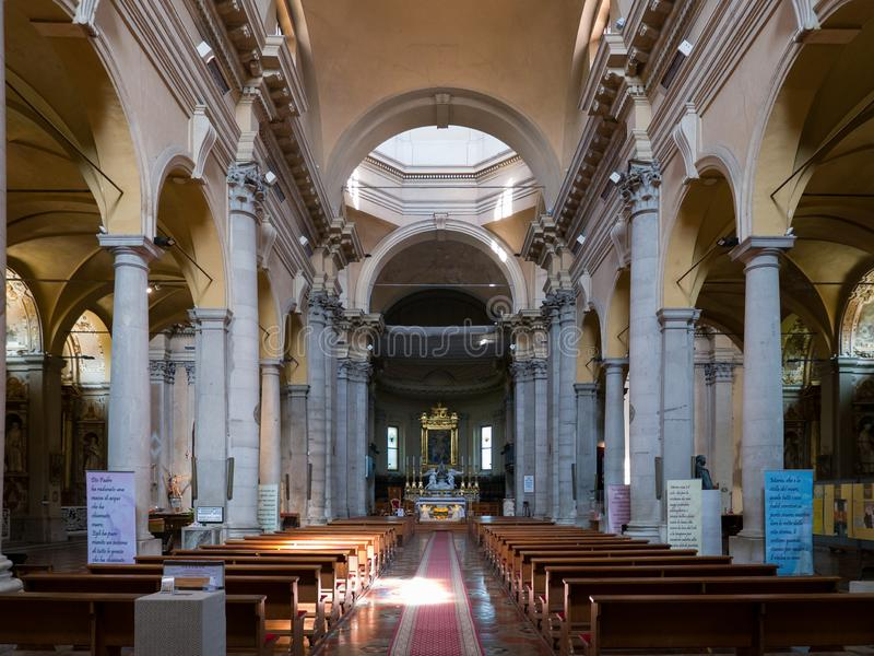 Inside the Basilica of Santa Maria in Porto with a rich 18th century facade in Ravenna. RAVENNA, ITALY 2018 AUGUST 03:  Inside the Basilica of Santa Maria in royalty free stock images