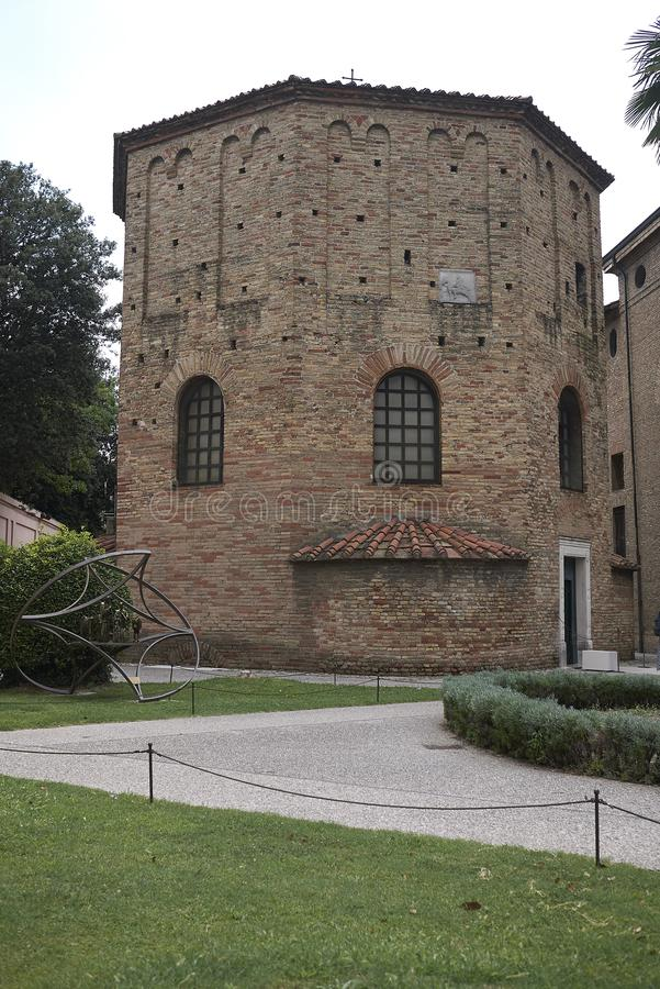 View of Battistero Neoniano exterior. Ravenna, Italy - August 14, 2019 : View of Battistero Neoniano exterior royalty free stock photos