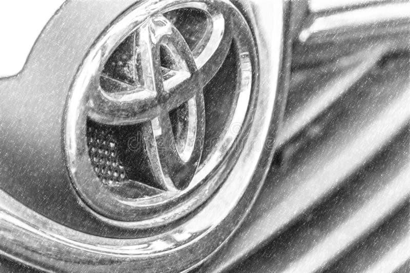 Editorial, dirty Toyota logo stock illustration