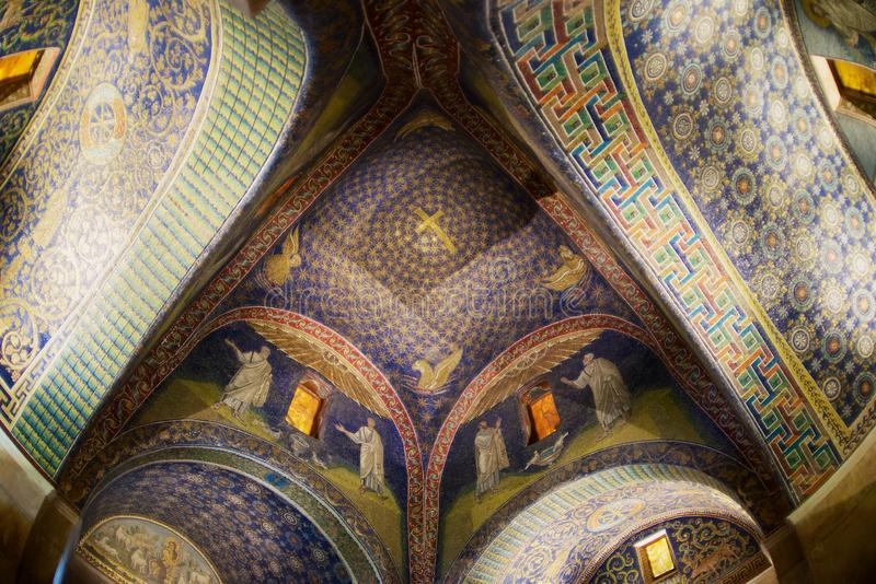 Interior of the Mausoleum of Galla Placidia, chapel embellished with colorful mosaics in Ravenna, Italy. royalty free stock photography