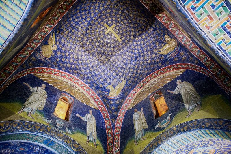 Interior of the Mausoleum of Galla Placidia, chapel embellished with colorful mosaics in Ravenna, Italy. stock image