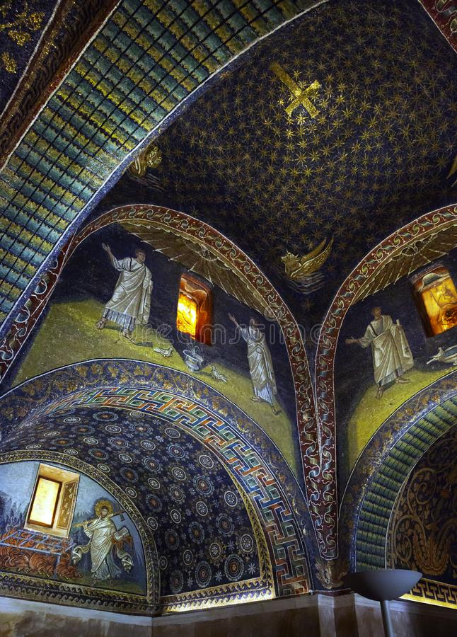Ceiling of Mausoleum of Galla Placidia, vertical stock image