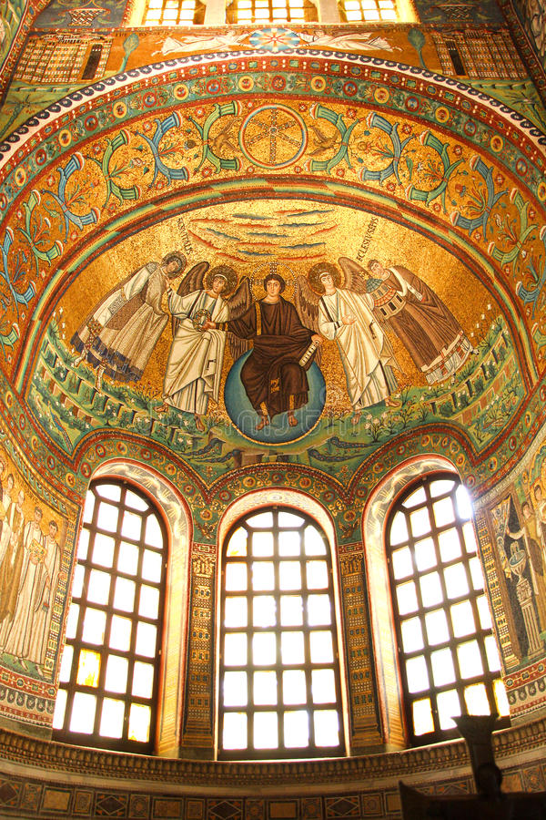 Ravenna, San Vitale, mozaïek, Italië stock fotografie