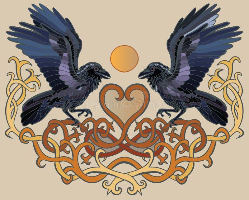 Ravenpaar en hart Keltisch ornament royalty-vrije stock afbeelding