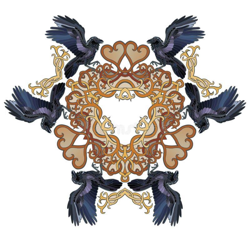 Ravens nel triangolo di stile celtico dei cuori di amore illustrazione di stock