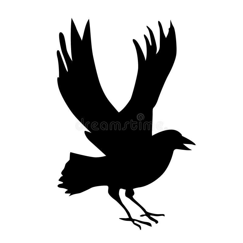 ravenssilhouette royaltyfri illustrationer