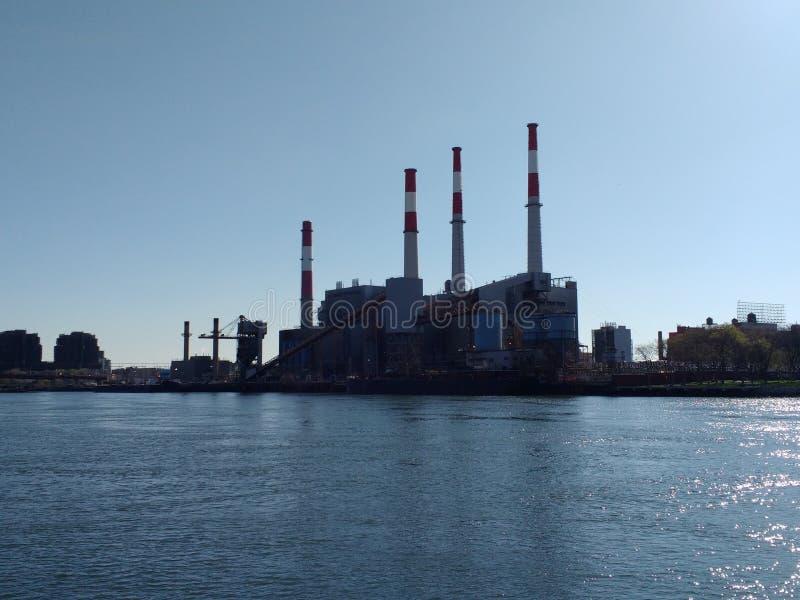 Ravenswood Generating Station from Roosevelt Island, NYC, NY, USA stock images