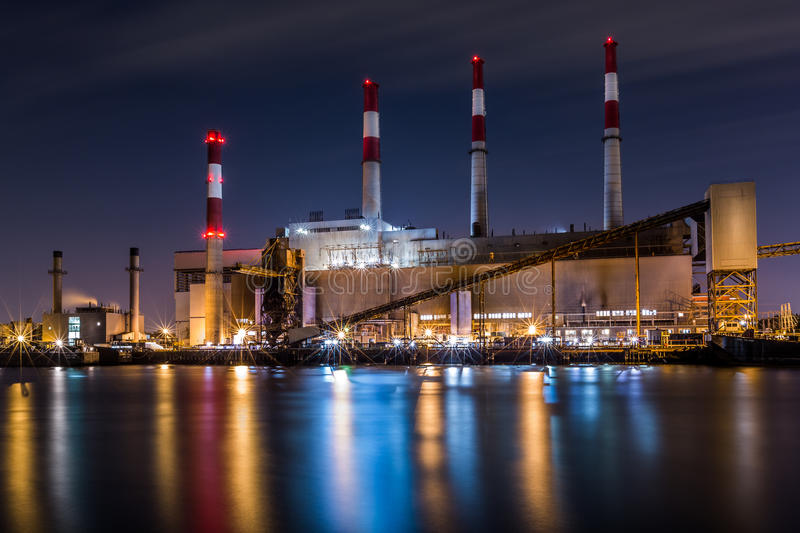Ravenswood Generating Station at night. Ravenswood Generating Station by night viewed from the Roosevelt island stock image